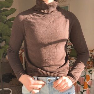 Brown Ribbed Turtleneck Sweater